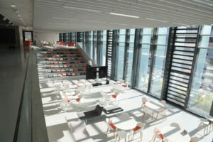 IMREDD's learning center is a modular space for exchange and studying.